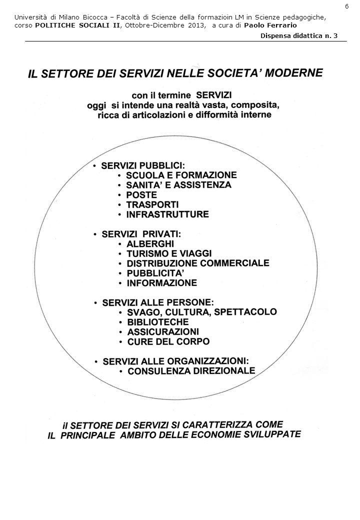 Università di Milano Bicocca – Facoltà di Scienze della formazioin LM in Scienze pedagogiche, corso POLITICHE SOCIALI II, Ottobre-Dicembre 2013, a cura di Paolo Ferrario 27 Dispensa didattica n.