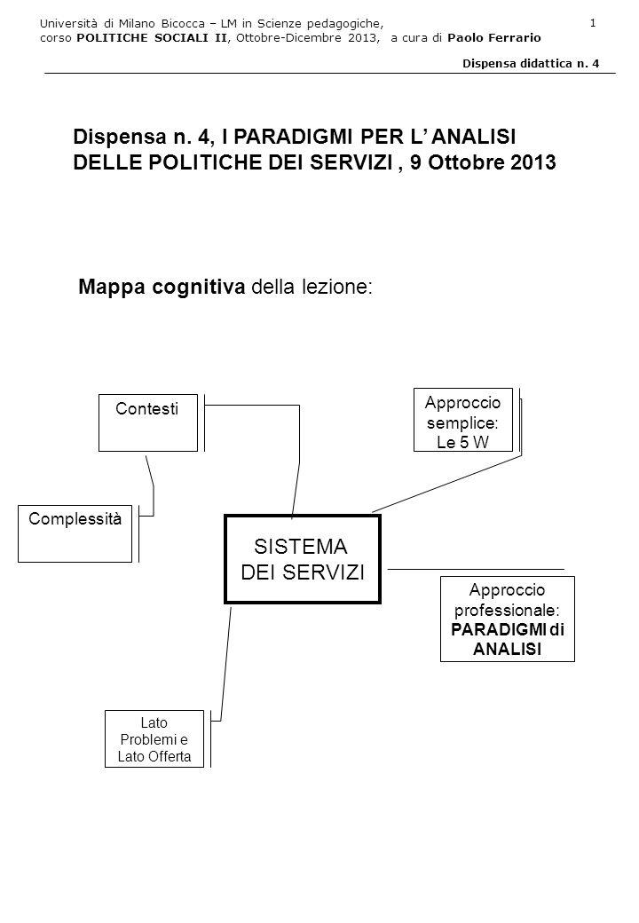 Università di Milano Bicocca – LM in Scienze pedagogiche, corso POLITICHE SOCIALI II, Ottobre-Dicembre 2013, a cura di Paolo Ferrario 2 Dispensa didattica n.