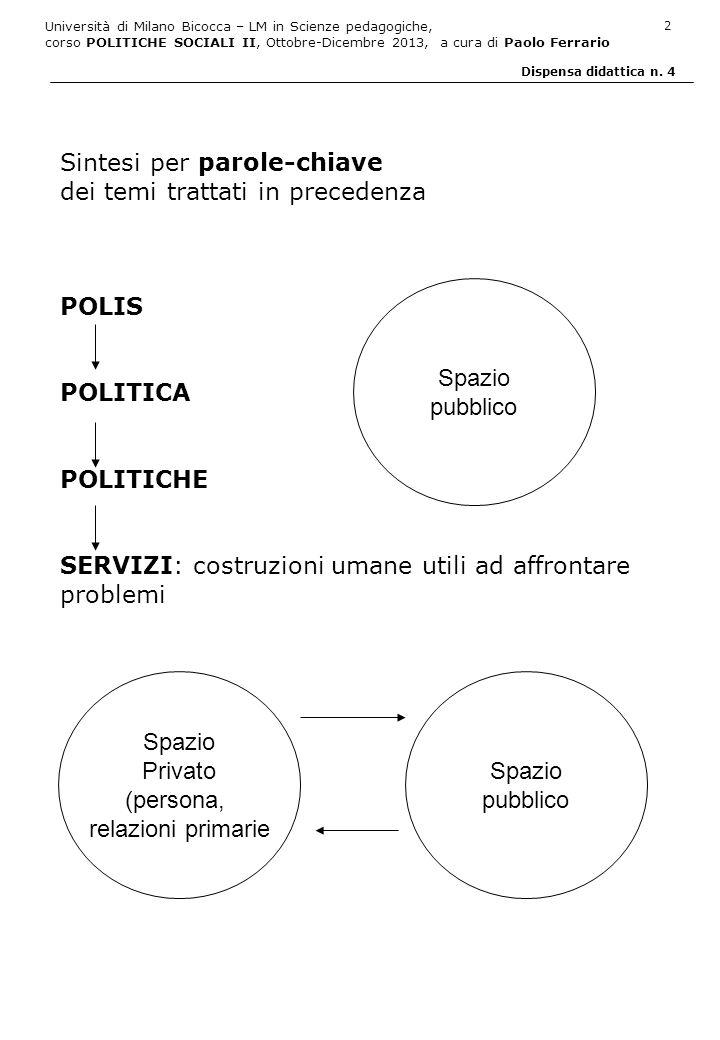 Università di Milano Bicocca – LM in Scienze pedagogiche, corso POLITICHE SOCIALI II, Ottobre-Dicembre 2013, a cura di Paolo Ferrario 3 Dispensa didattica n.