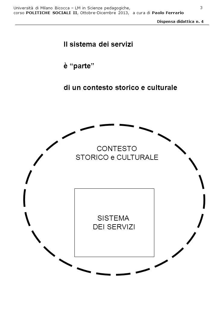 Università di Milano Bicocca – LM in Scienze pedagogiche, corso POLITICHE SOCIALI II, Ottobre-Dicembre 2013, a cura di Paolo Ferrario 14 Dispensa didattica n.