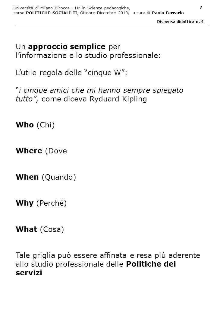 Università di Milano Bicocca – LM in Scienze pedagogiche, corso POLITICHE SOCIALI II, Ottobre-Dicembre 2013, a cura di Paolo Ferrario 9 Dispensa didattica n.
