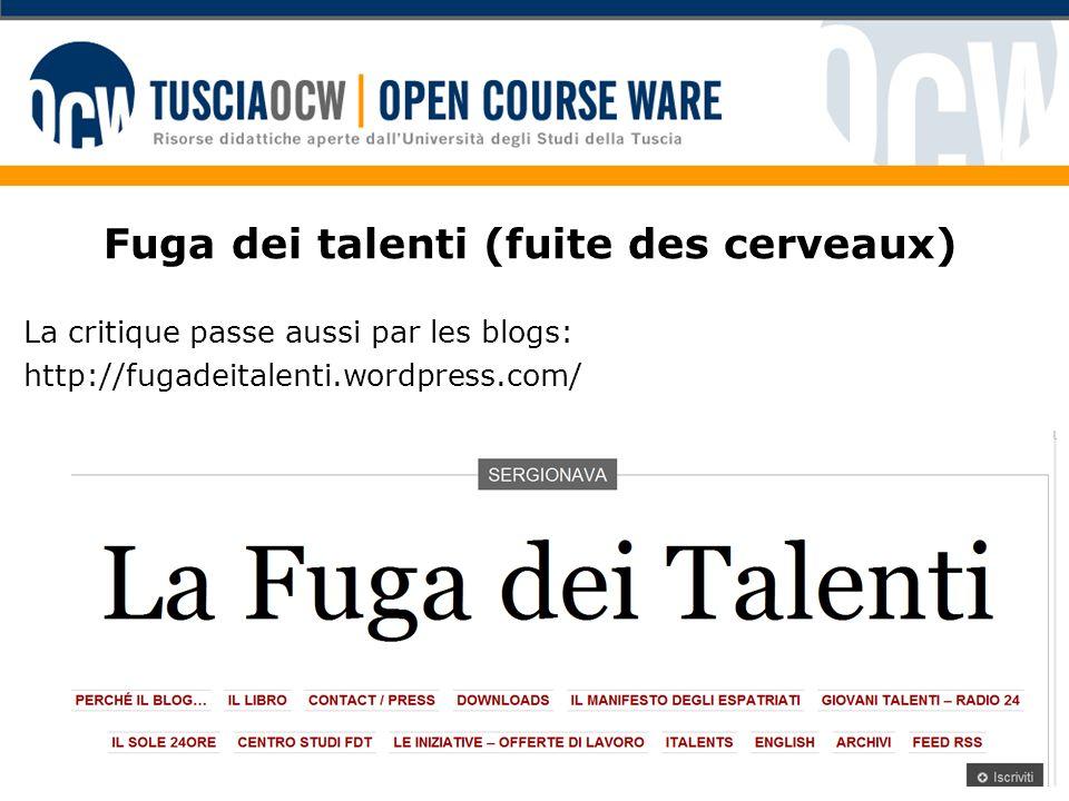 Fuga dei talenti (fuite des cerveaux) La critique passe aussi par les blogs: http://fugadeitalenti.wordpress.com/