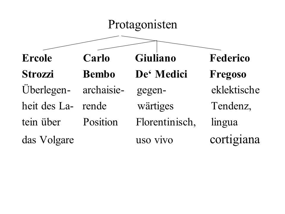Protagonisten Ercole Carlo Giuliano Federico Strozzi Bembo De Medici Fregoso Überlegen- archaisie- gegen- eklektische heit des La- rende wärtiges Tend