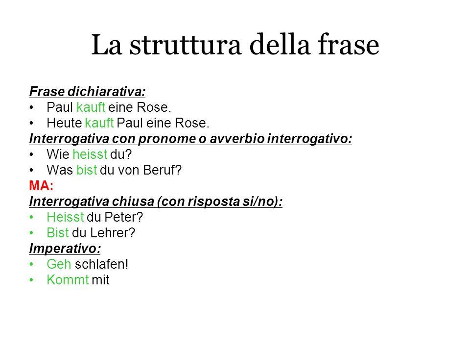La struttura della frase Frase dichiarativa: Paul kauft eine Rose. Heute kauft Paul eine Rose. Interrogativa con pronome o avverbio interrogativo: Wie