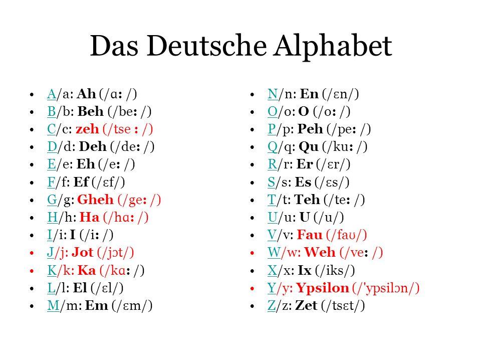 Das Deutsche Alphabet A/a: Ah (/ ɑ : /)A B/b: Beh (/be: /)B C/c: zeh (/tse : /)C D/d: Deh (/de: /)D E/e: Eh (/e: /)E F/f: Ef (/ ɛ f/)F G/g: Gheh (/ge: