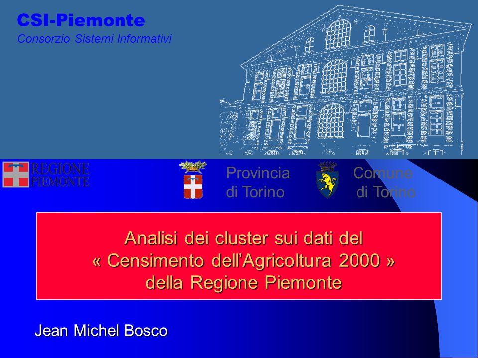 CSI-Piemonte Consorzio Sistemi Informativi Provincia Comune di Torino di Torino Analisi dei cluster sui dati del « Censimento dellAgricoltura 2000 » della Regione Piemonte Jean Michel Bosco