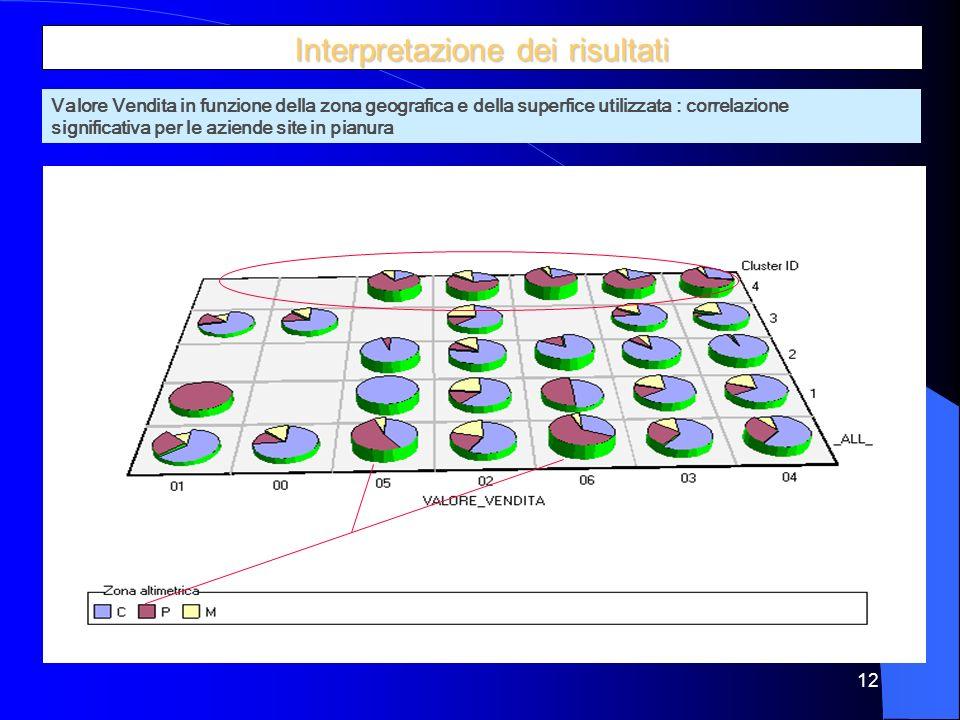 12 Interpretazione dei risultati Valore Vendita in funzione della zona geografica e della superfice utilizzata : correlazione significativa per le aziende site in pianura