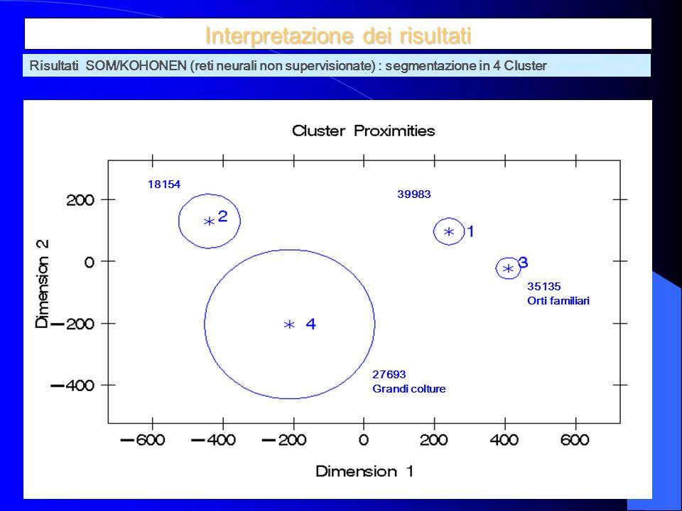 8 Interpretazione dei risultati 18154 27693 Grandi colture 39983 35135 Orti familiari Risultati SOM/KOHONEN (reti neurali non supervisionate) : segmentazione in 4 Cluster