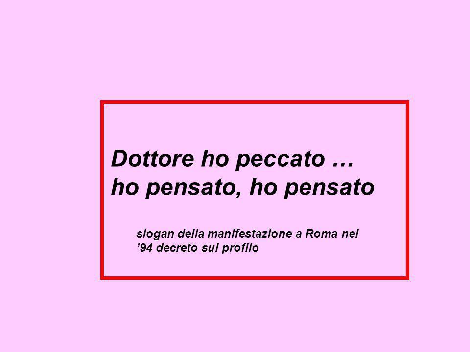 slogan della manifestazione a Roma nel 94 decreto sul profilo Dottore ho peccato … ho pensato, ho pensato
