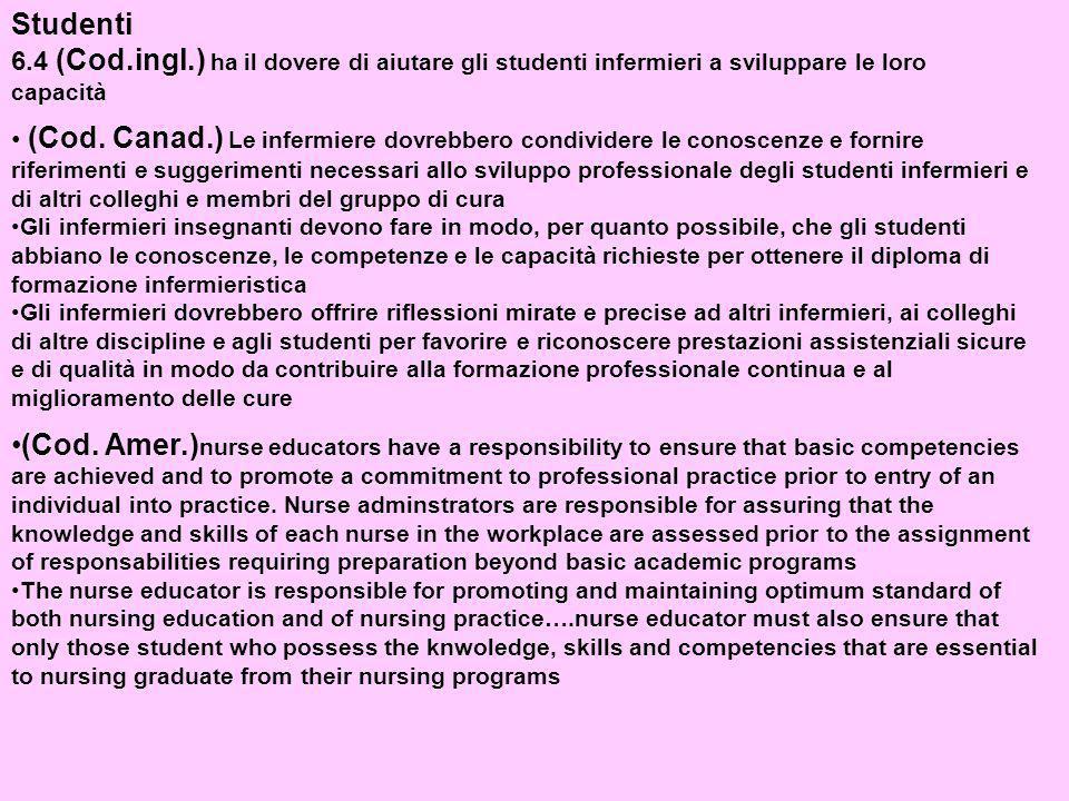 Studenti 6.4 (Cod.ingl.) ha il dovere di aiutare gli studenti infermieri a sviluppare le loro capacità (Cod.