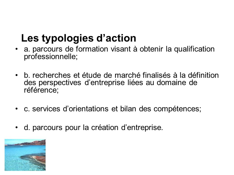 Les typologies daction a.