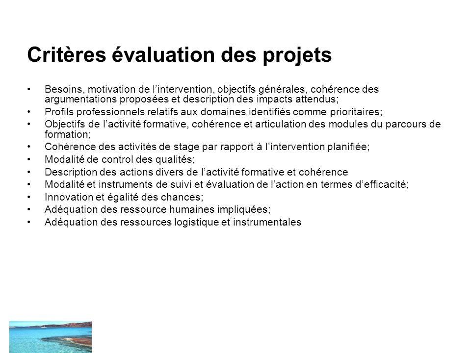 Critères évaluation des projets Besoins, motivation de lintervention, objectifs générales, cohérence des argumentations proposées et description des i