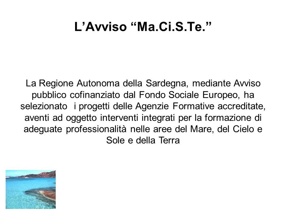 LAvviso Ma.Ci.S.Te. La Regione Autonoma della Sardegna, mediante Avviso pubblico cofinanziato dal Fondo Sociale Europeo, ha selezionato i progetti del