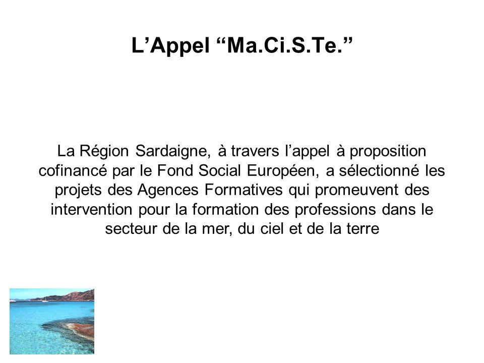 LAppel Ma.Ci.S.Te. La Région Sardaigne, à travers lappel à proposition cofinancé par le Fond Social Européen, a sélectionné les projets des Agences Fo