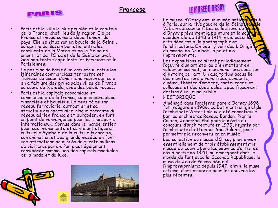 Francese Paris est la ville la plus peuplée et la capitale de la France, chef lieu de la ragion Ile de France et inique comune département du pays. El