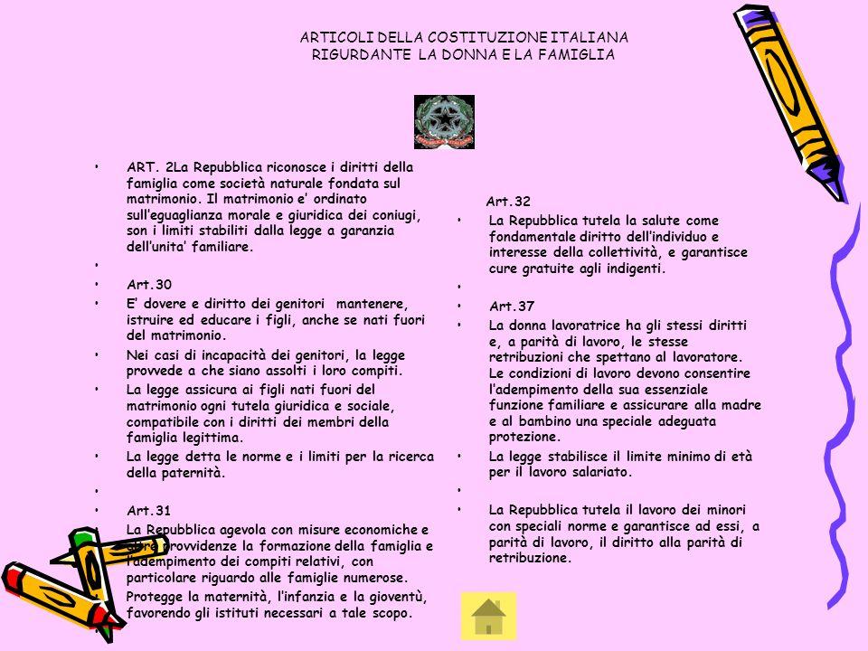 ARTICOLI DELLA COSTITUZIONE ITALIANA RIGURDANTE LA DONNA E LA FAMIGLIA ART. 2La Repubblica riconosce i diritti della famiglia come società naturale fo