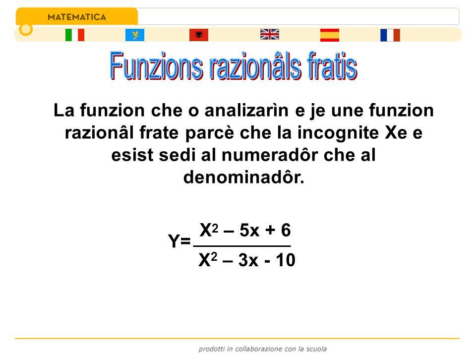 Y= X 2 – 5x + 6 X 2 – 3x - 10 La funzion che o analizarìn e je une funzion razionâl frate parcè che la incognite Xe e esist sedi al numeradôr che al d