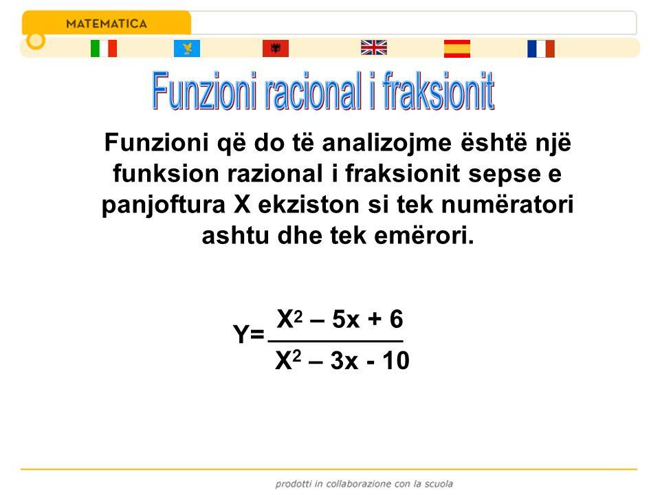 Y= X 2 – 5x + 6 X 2 – 3x - 10 Funzioni që do të analizojme është një funksion razional i fraksionit sepse e panjoftura X ekziston si tek numëratori as