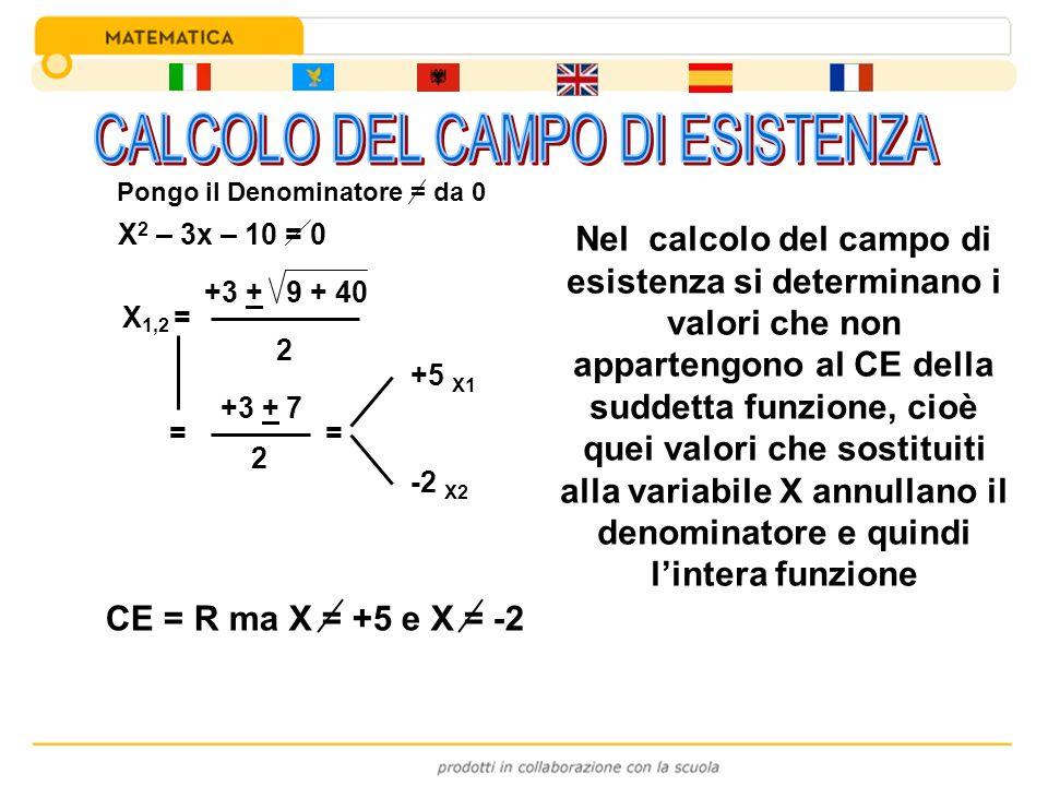 X 2 – 3x – 10 = 0 X 1,2 = +3 + 9 + 40 2 = +3 + 7 2 = +5 X1 -2 X2 CE = R ma X = +5 e X = -2 Nel calcolo del campo di esistenza si determinano i valori