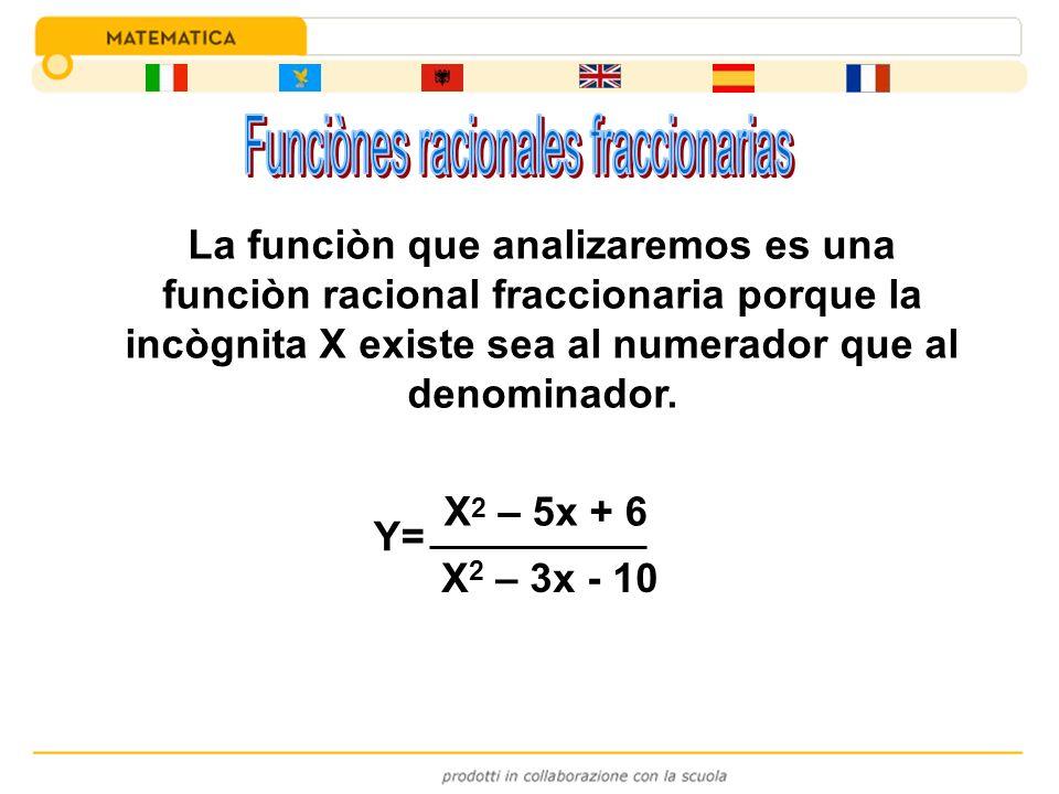 Y= X 2 – 5x + 6 X 2 – 3x - 10 La funciòn que analizaremos es una funciòn racional fraccionaria porque la incògnita X existe sea al numerador que al de