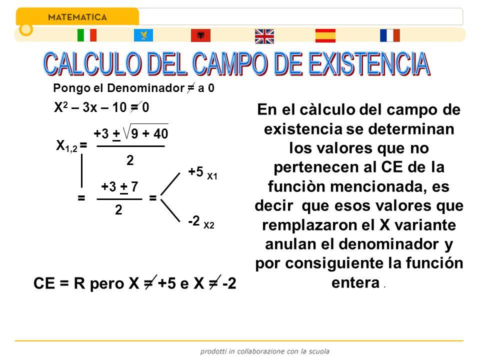 X 2 – 3x – 10 = 0 X 1,2 = +3 + 9 + 40 2 = +3 + 7 2 = +5 X1 -2 X2 CE = R pero X = +5 e X = -2 En el càlculo del campo de existencia se determinan los v