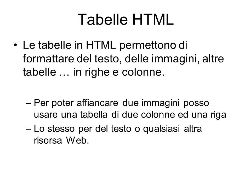 Tabelle HTML Le tabelle in HTML permettono di formattare del testo, delle immagini, altre tabelle … in righe e colonne. –Per poter affiancare due imma