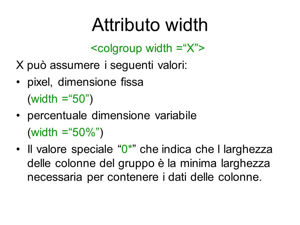 Attributo width …….