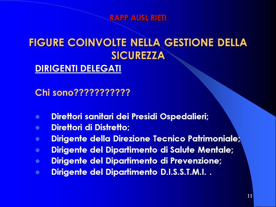 11 RAPP AUSL RIETI FIGURE COINVOLTE NELLA GESTIONE DELLA SICUREZZA DIRIGENTI DELEGATI Chi sono??????????? Direttori sanitari dei Presidi Ospedalieri;