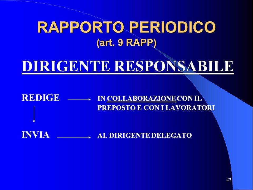 23 RAPPORTO PERIODICO (art. 9 RAPP) DIRIGENTE RESPONSABILE REDIGE IN COLLABORAZIONE CON IL PREPOSTO E CON I LAVORATORI INVIA AL DIRIGENTE DELEGATO