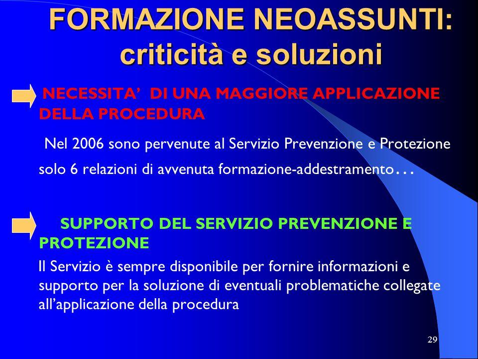 29 FORMAZIONE NEOASSUNTI: criticità e soluzioni NECESSITA DI UNA MAGGIORE APPLICAZIONE DELLA PROCEDURA Nel 2006 sono pervenute al Servizio Prevenzione