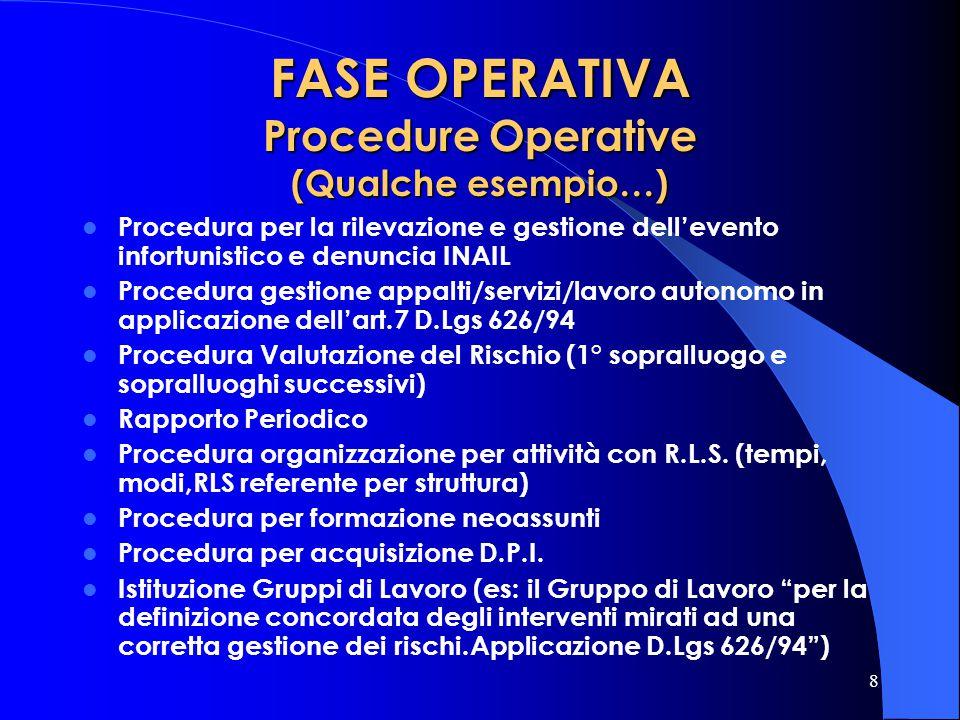 8 FASE OPERATIVA Procedure Operative (Qualche esempio…) Procedura per la rilevazione e gestione dellevento infortunistico e denuncia INAIL Procedura g