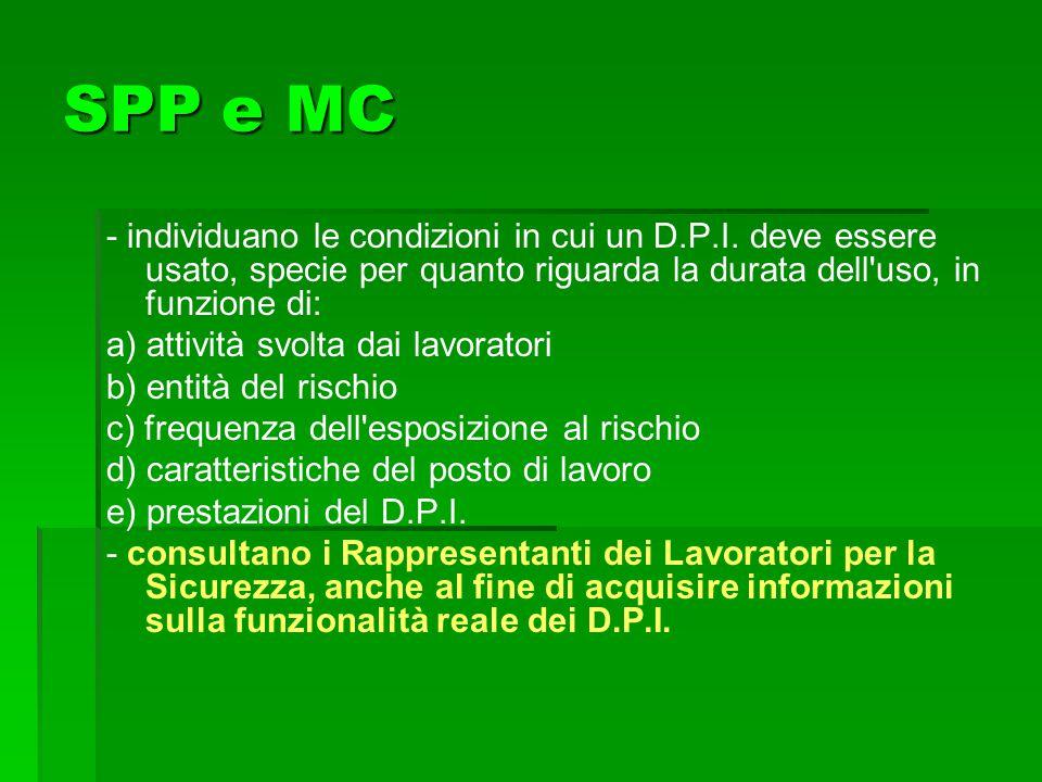 SPP e MC - individuano le condizioni in cui un D.P.I. deve essere usato, specie per quanto riguarda la durata dell'uso, in funzione di: a) attività sv