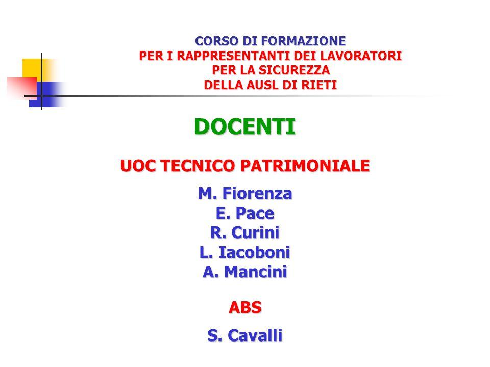 CORSO DI FORMAZIONE PER I RAPPRESENTANTI DEI LAVORATORI PER LA SICUREZZA DELLA AUSL DI RIETI DOCENTI UOC TECNICO PATRIMONIALE M. Fiorenza E. Pace R. C