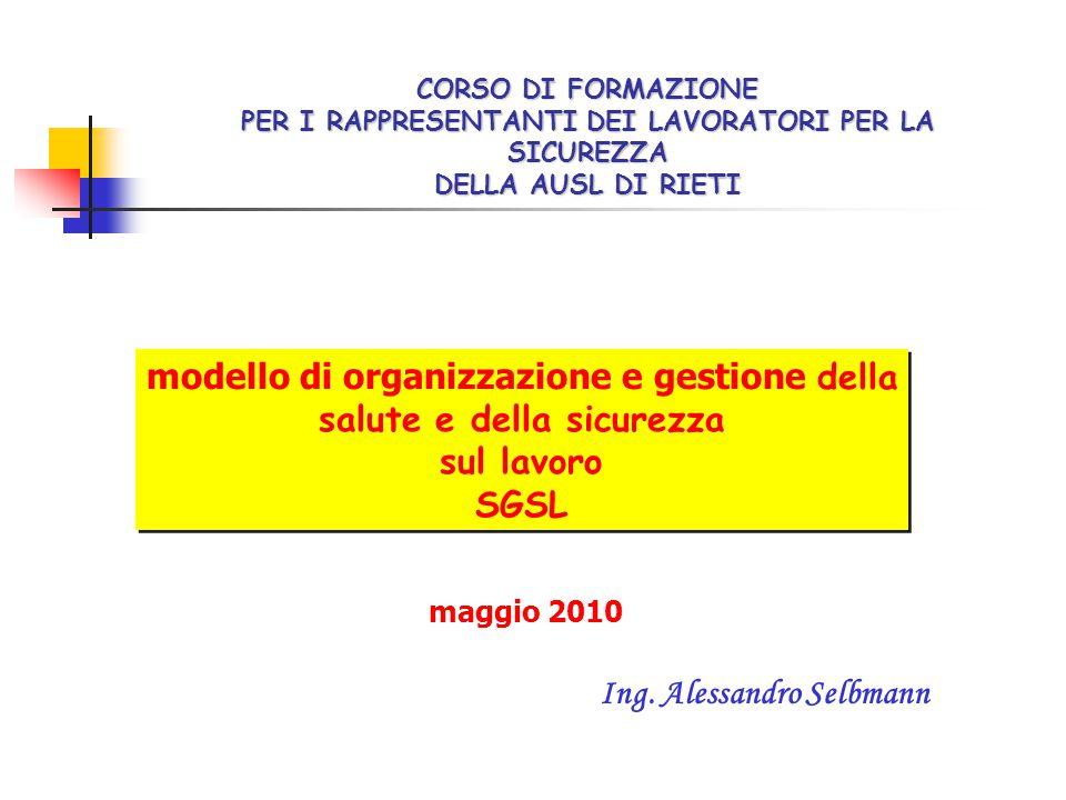 modello di organizzazione e gestione della salute e della sicurezza sul lavoro SGSL modello di organizzazione e gestione della salute e della sicurezz