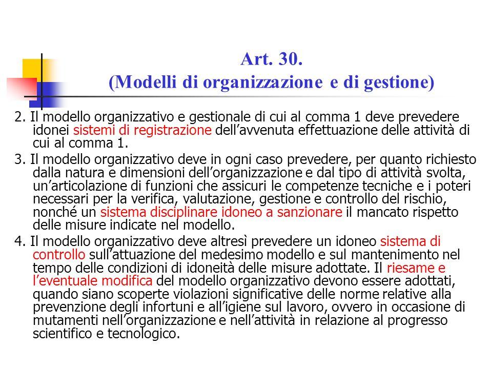 Art. 30. (Modelli di organizzazione e di gestione) 2. Il modello organizzativo e gestionale di cui al comma 1 deve prevedere idonei sistemi di registr