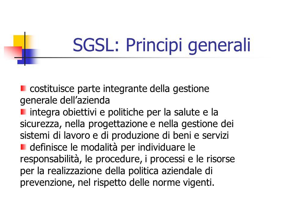 SGSL: Principi generali costituisce parte integrante della gestione generale dellazienda integra obiettivi e politiche per la salute e la sicurezza, n