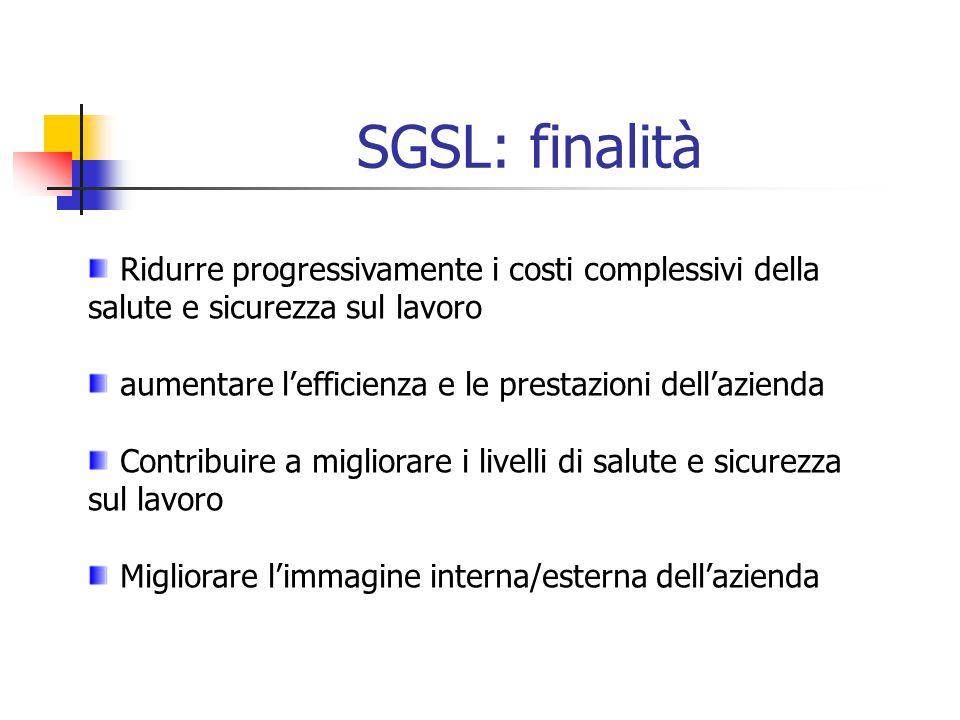 SGSL: finalità Ridurre progressivamente i costi complessivi della salute e sicurezza sul lavoro aumentare lefficienza e le prestazioni dellazienda Con