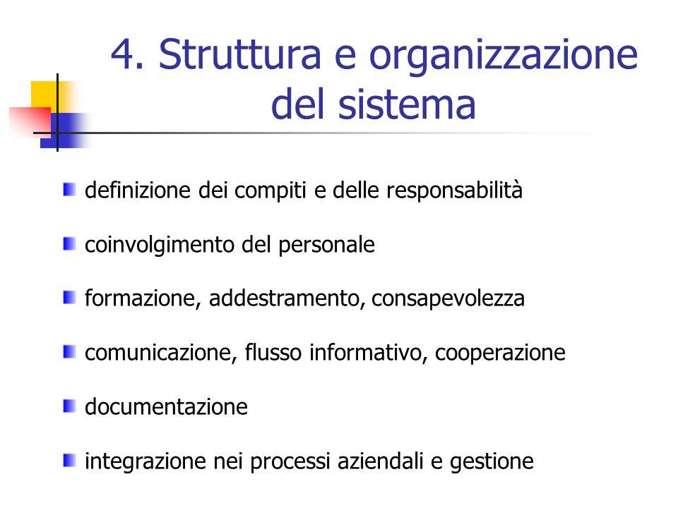 4. Struttura e organizzazione del sistema definizione dei compiti e delle responsabilità coinvolgimento del personale formazione, addestramento, consa