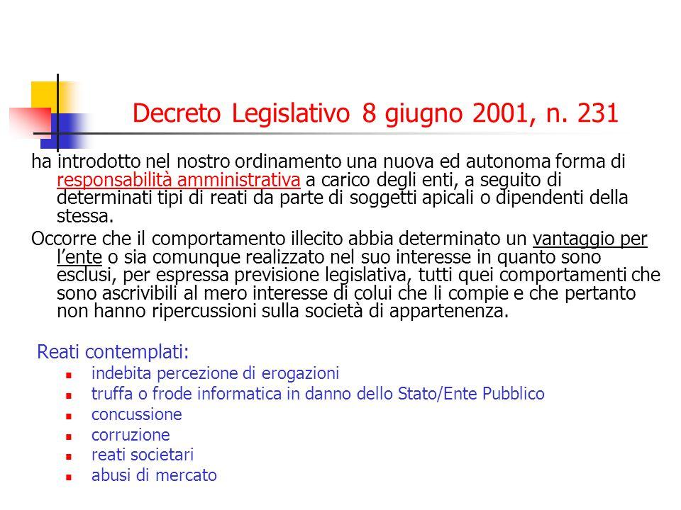 Decreto Legislativo 8 giugno 2001, n. 231 ha introdotto nel nostro ordinamento una nuova ed autonoma forma di responsabilità amministrativa a carico d