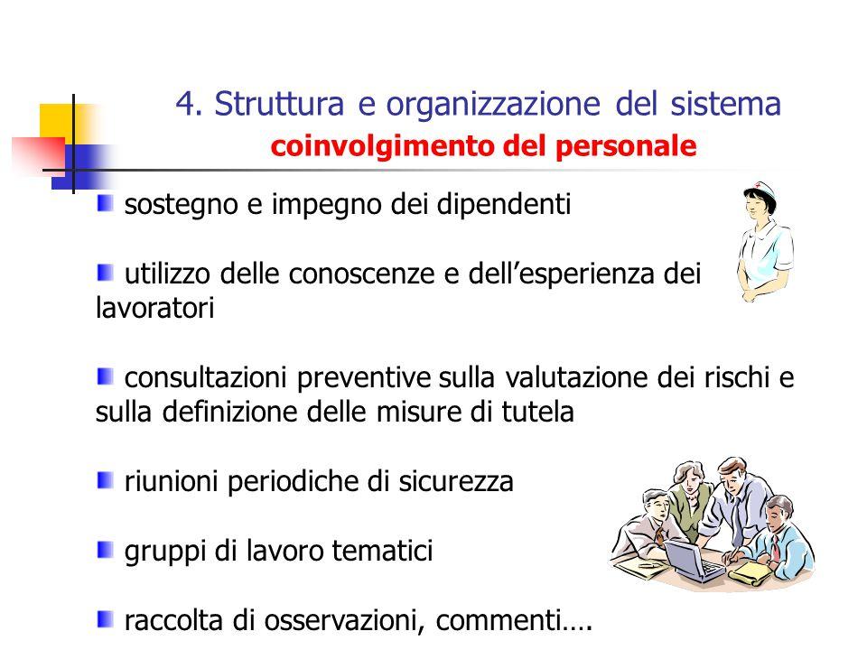 4. Struttura e organizzazione del sistema coinvolgimento del personale sostegno e impegno dei dipendenti utilizzo delle conoscenze e dellesperienza de