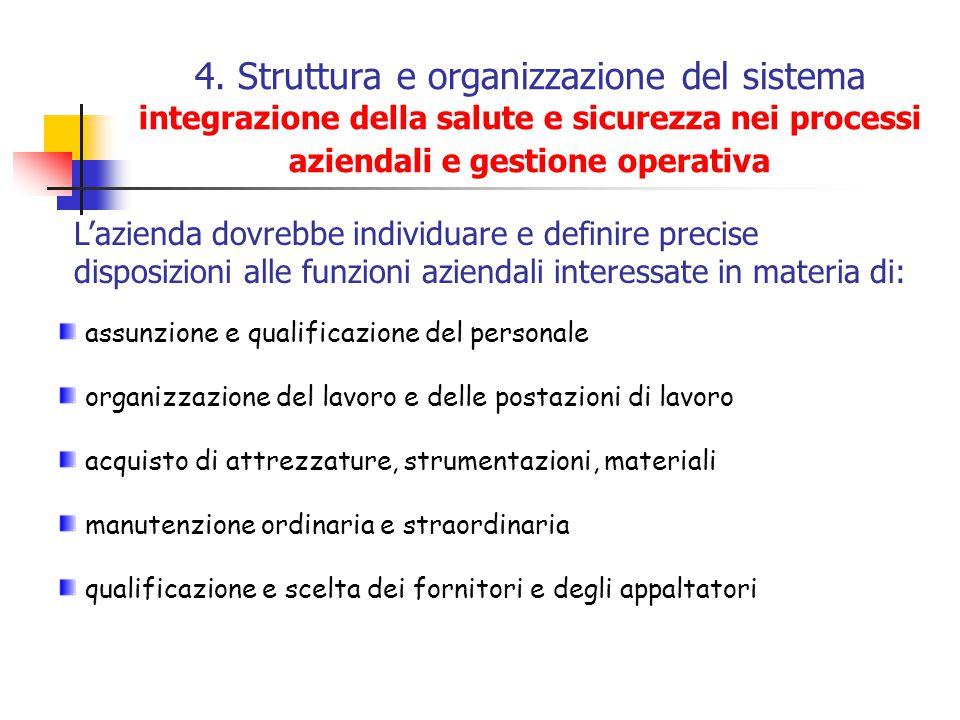 4. Struttura e organizzazione del sistema integrazione della salute e sicurezza nei processi aziendali e gestione operativa assunzione e qualificazion