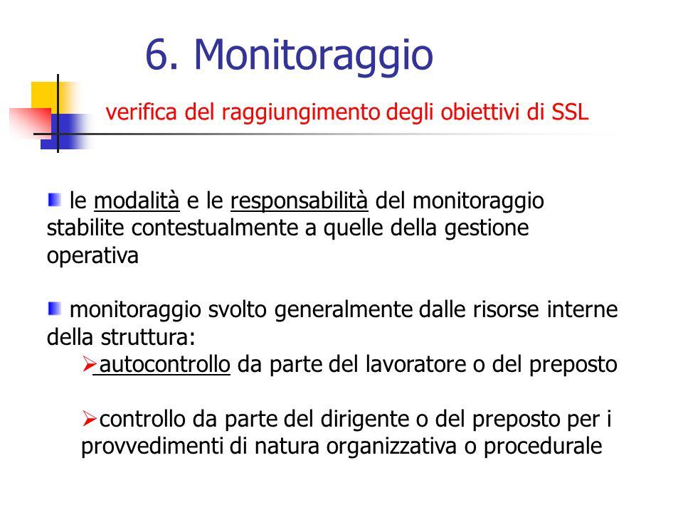 6. Monitoraggio verifica del raggiungimento degli obiettivi di SSL le modalità e le responsabilità del monitoraggio stabilite contestualmente a quelle