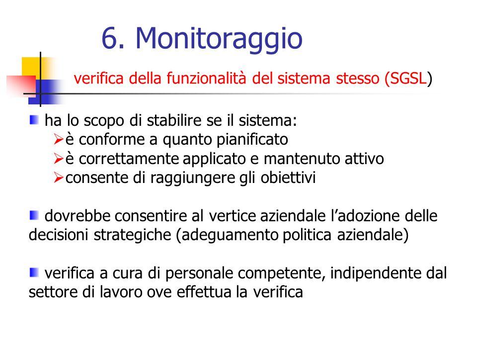 6. Monitoraggio verifica della funzionalità del sistema stesso (SGSL) ha lo scopo di stabilire se il sistema: è conforme a quanto pianificato è corret