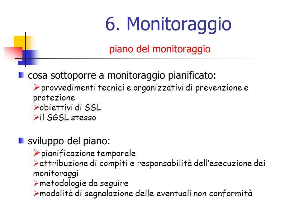 6. Monitoraggio piano del monitoraggio cosa sottoporre a monitoraggio pianificato: provvedimenti tecnici e organizzativi di prevenzione e protezione o