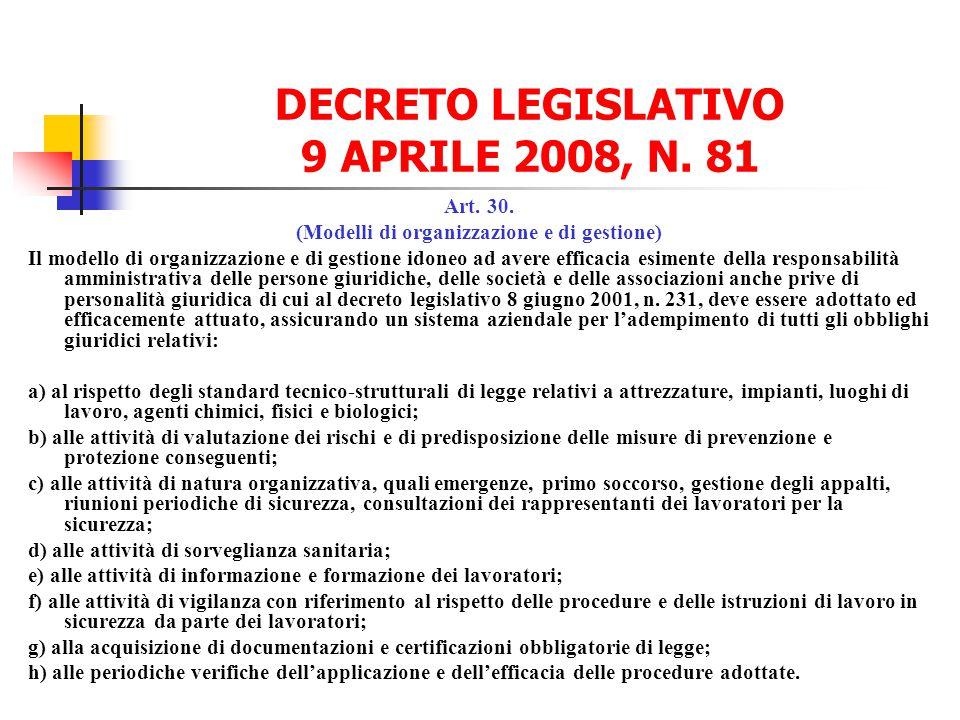 DECRETO LEGISLATIVO 9 APRILE 2008, N. 81 Art. 30. (Modelli di organizzazione e di gestione) Il modello di organizzazione e di gestione idoneo ad avere