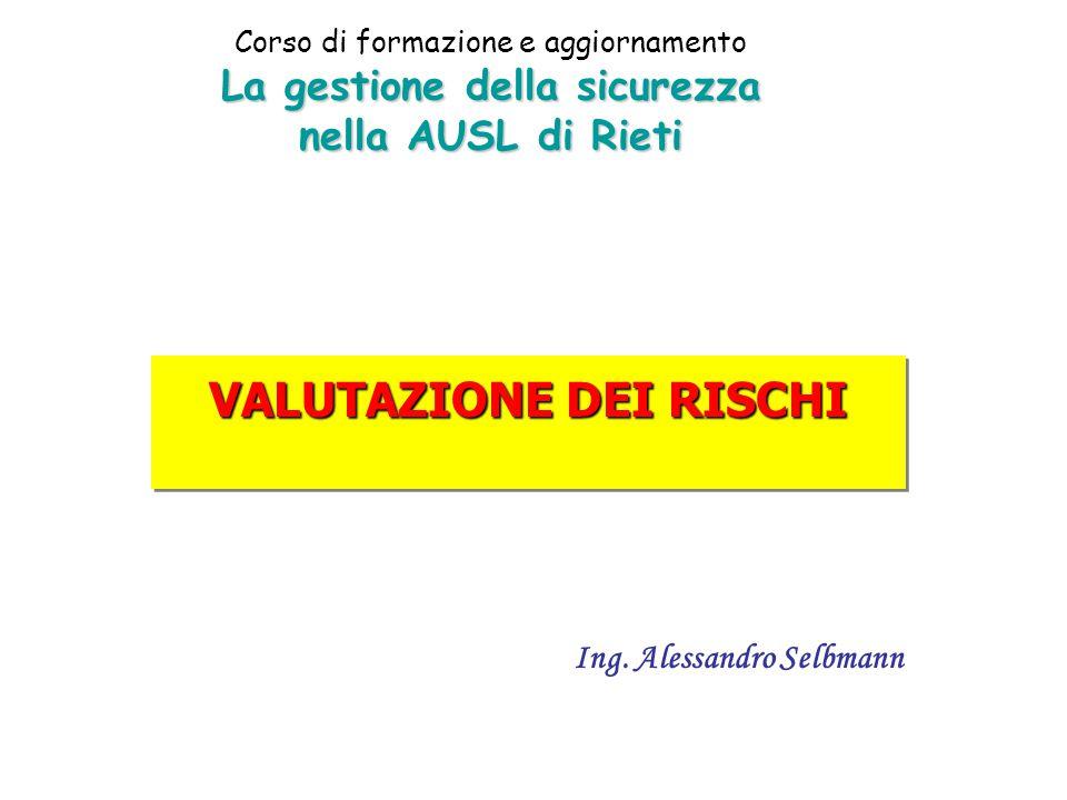 La gestione della sicurezza nella AUSL di Rieti Corso di formazione e aggiornamento La gestione della sicurezza nella AUSL di Rieti VALUTAZIONE DEI RISCHI Ing.