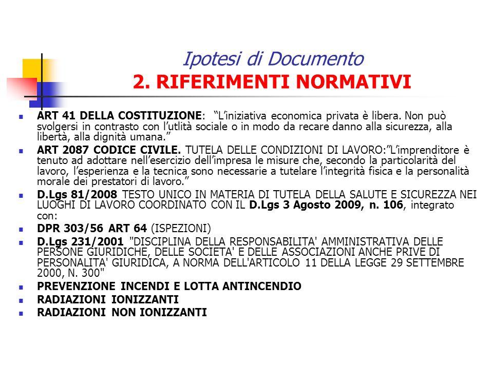 Ipotesi di Documento 2. RIFERIMENTI NORMATIVI ART 41 DELLA COSTITUZIONE: Liniziativa economica privata è libera. Non può svolgersi in contrasto con lu