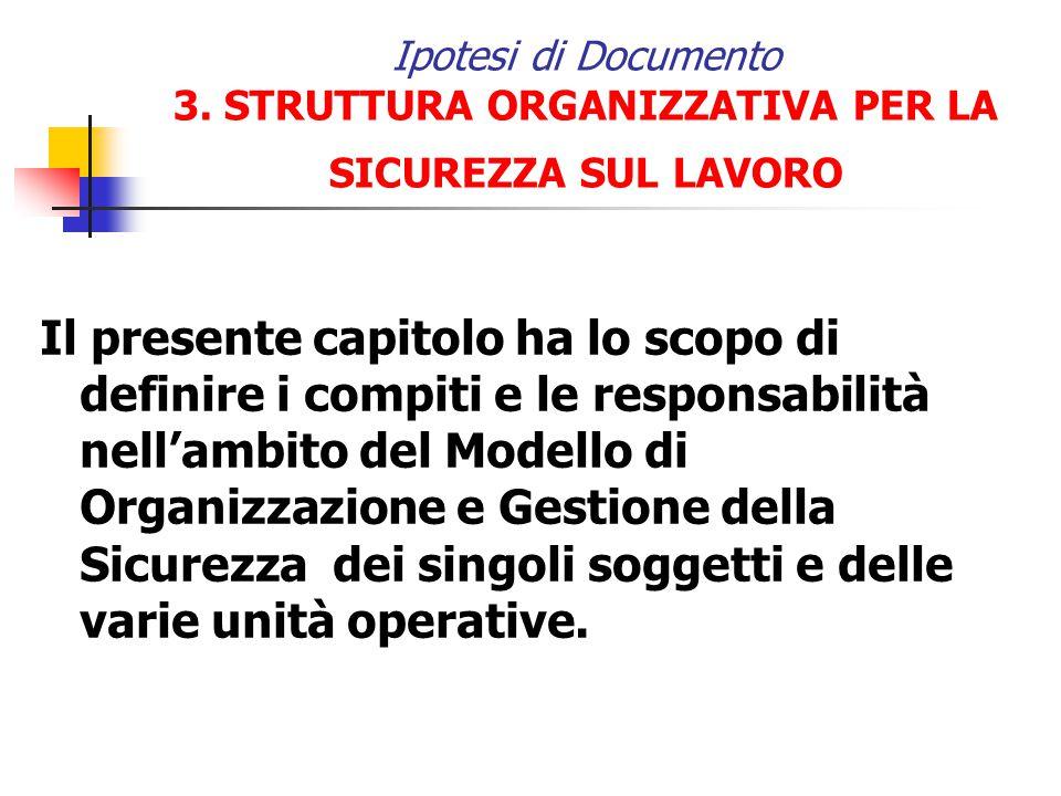 Ipotesi di Documento 3. STRUTTURA ORGANIZZATIVA PER LA SICUREZZA SUL LAVORO Il presente capitolo ha lo scopo di definire i compiti e le responsabilità