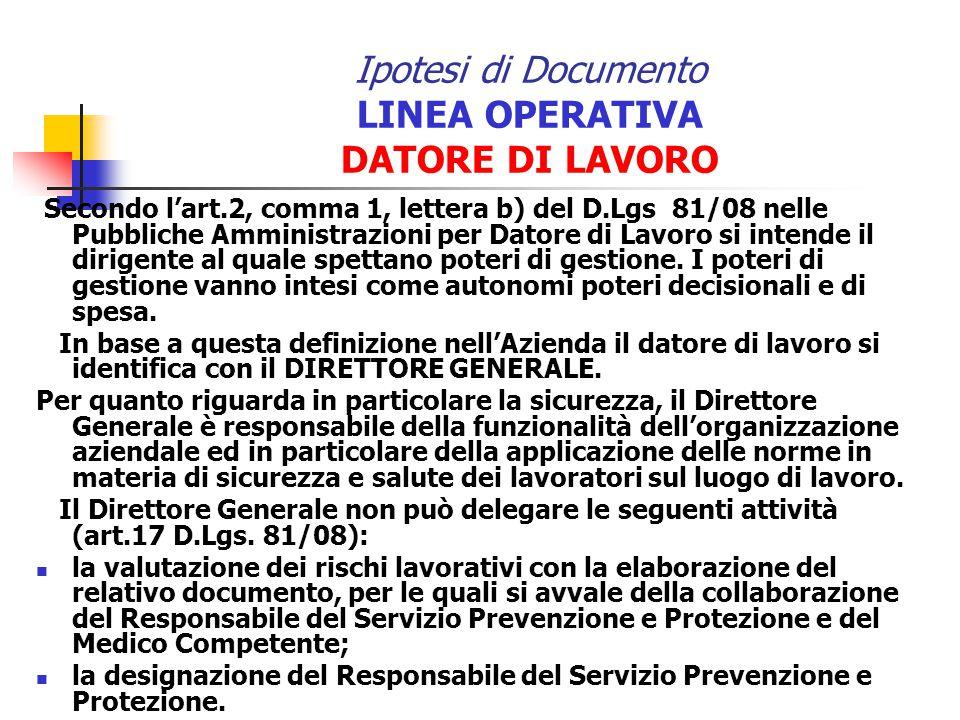Ipotesi di Documento LINEA OPERATIVA DATORE DI LAVORO Secondo lart.2, comma 1, lettera b) del D.Lgs 81/08 nelle Pubbliche Amministrazioni per Datore d
