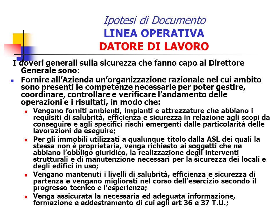 Ipotesi di Documento LINEA OPERATIVA DATORE DI LAVORO I doveri generali sulla sicurezza che fanno capo al Direttore Generale sono: Fornire allAzienda